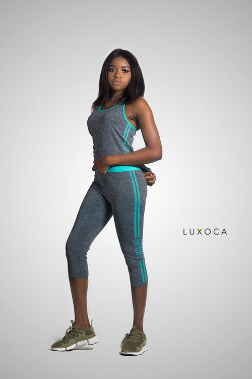 Luxoca Active Woman Grey&Green Gym Wear