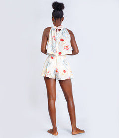 Cream Floral Halter-neck top and Shorts (2-piece)