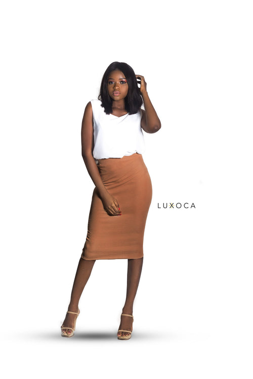 Beige Bodycon Pencil Skirt