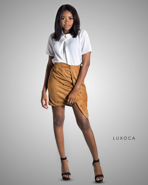 Lala Suede Brown Skirt