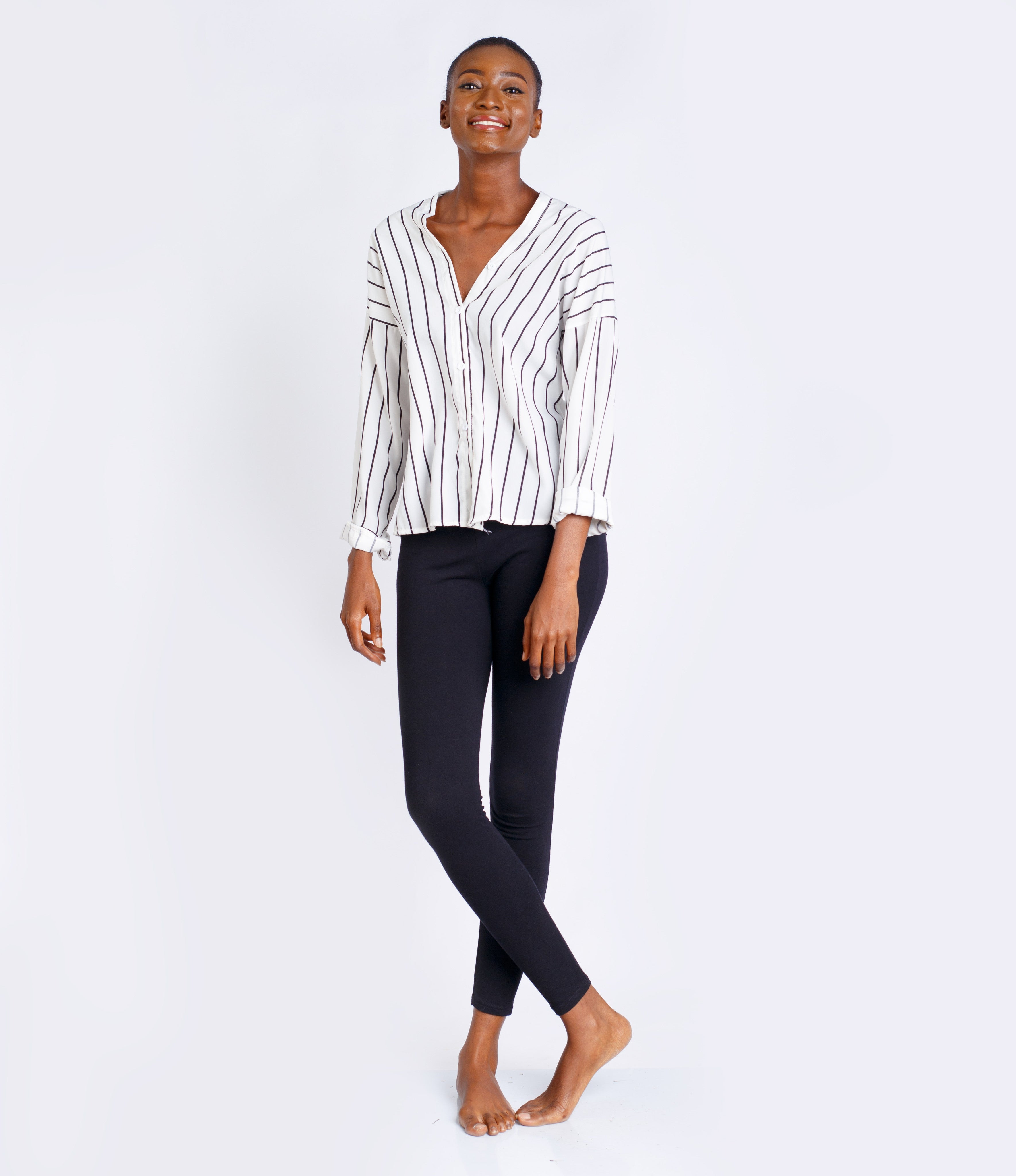 Black and White Striped Off-Shoulder Shirt