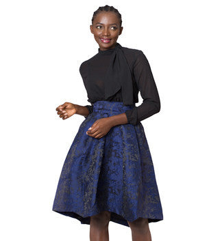 Navy Glam Embossed Waterfall Skirt
