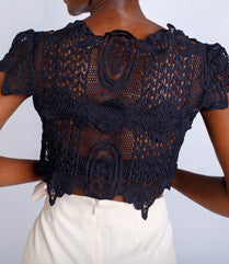 Black Crochet Crop Top
