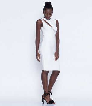Elegant Cut Out White Bandage dress