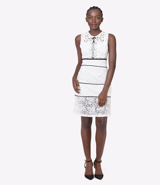 Chord Lace Midi Dress - White