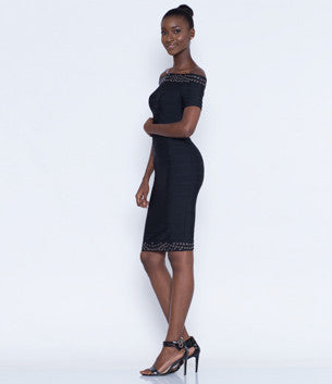 Black Bardot Bodycon Bandage dress