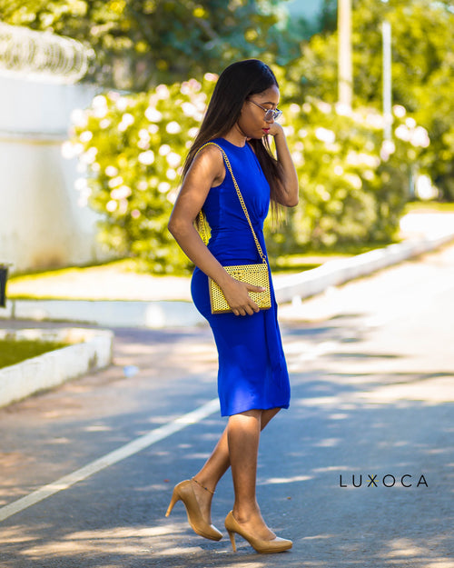 Blue Shoulder Cut Out Pencil Dress