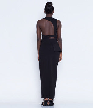 Black Cutout Backless Maxi Dress