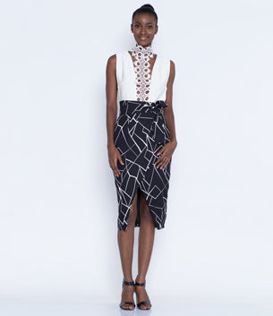 Black and White Cracked Abstract Print Tie Front Skirt