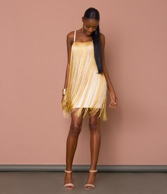 Gold Fringe Bandage Dress