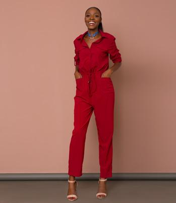 Burgundy Long-Sleeve Jumpsuit