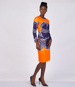 Orange Printed Long sleeve shift dress