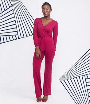 Wrap Long Sleeve Burgundy Jumpsuit
