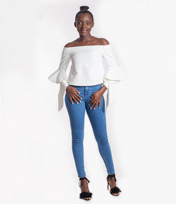 Ethereal Frilling Off-shoulder Top in White