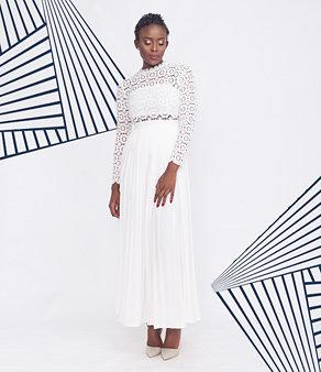 White Crochet Lace Pleated Maxi Dress