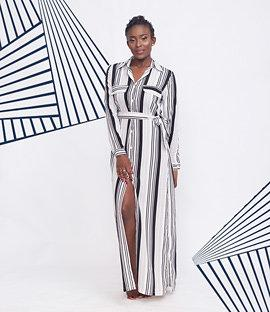 Long Stripe Shirt Dress