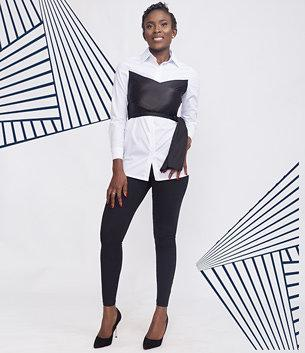 White Contrast Wrap Shirt