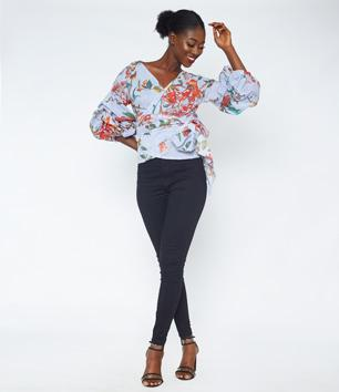 Stripe Floral Open Front Top