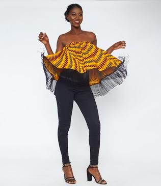 Black Fringe African Print Tube Top