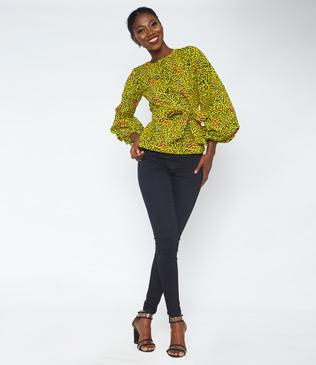 Demi Bishop Sleeve African Print Top