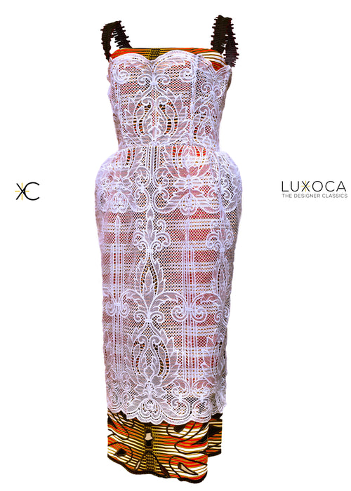 Christie Brown White Lace Dress