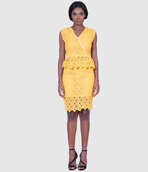 Chicwish Romantic Route Crochet Top and Skirt Set in Yellow