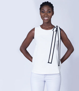 Bonjour Bowknot Sleeveless Top in White