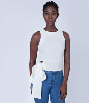 Tie a Bow Cropped Top in White