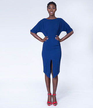 Luxoca-Navy-Wiggle-Dress-with-split-front