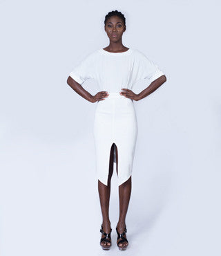 Luxoca White Wiggle Dress with split front
