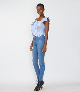 Blue Gingham Ruffle One-hand Top