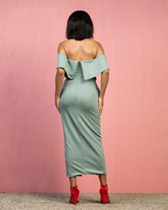 Mint Green Fitted Midi Dress