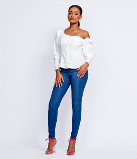 Drop Down Cold Shoulder Top