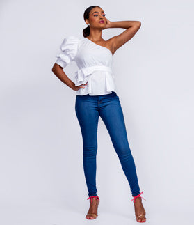 9ca21656201b One shoulder sleeve peplum top. $37.99 USD. White T-shirt Dress with Corset  Belt