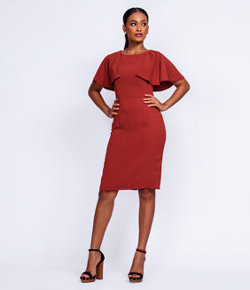 Overlay Flared Sleeve Dress