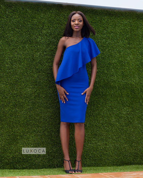 Blue One Shoulder Frilled Midi Dress