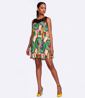 Ajoba Geometric Print Midi Dress