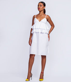 Self Tie Shoulder Ruffle Dress