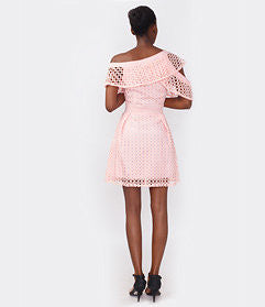 Peach Off-Shoulder Lace Dress