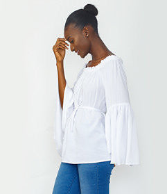 White Bell Sleeve Off shoulder Top