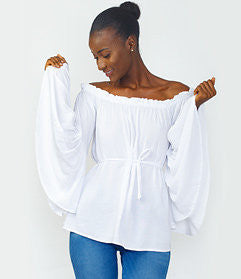 White Ruffle One-Hand Bodysuit