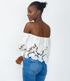 White Crochet lace cold-shoulder Top
