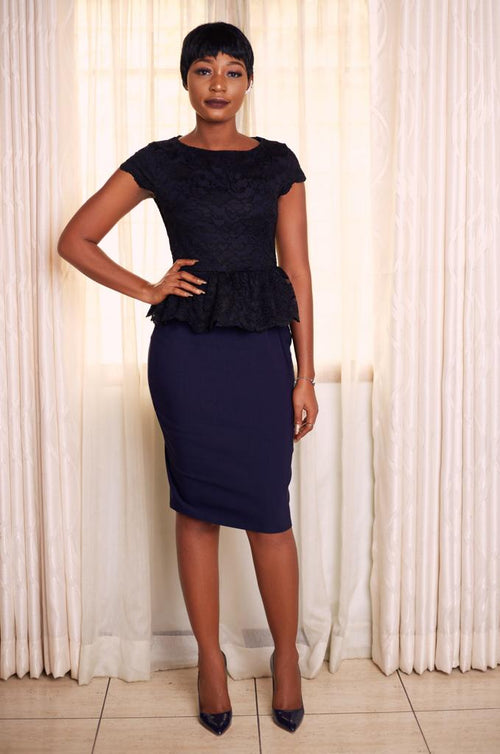 Liz Lace Top Navy Blue and Black Peplum Dress