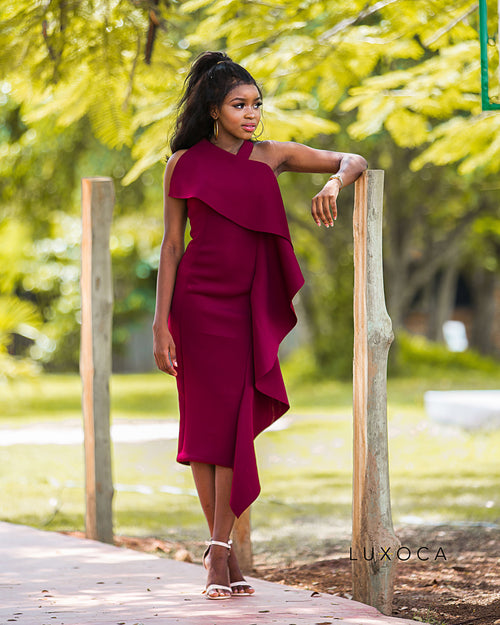 Burgundy One Side Ruffle Dress