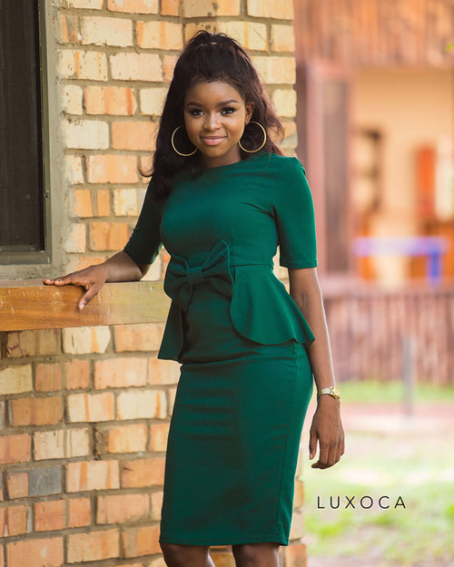 Dark Olive Green Peplum midi Dress