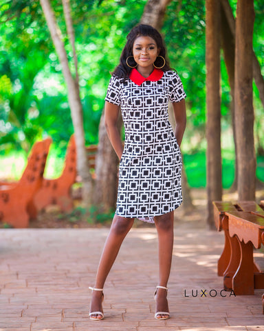 Midi Dress With Ruffle Sleeve In Polka Dot Print