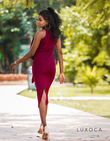 Madison Burgundy Asymmetrical Dress