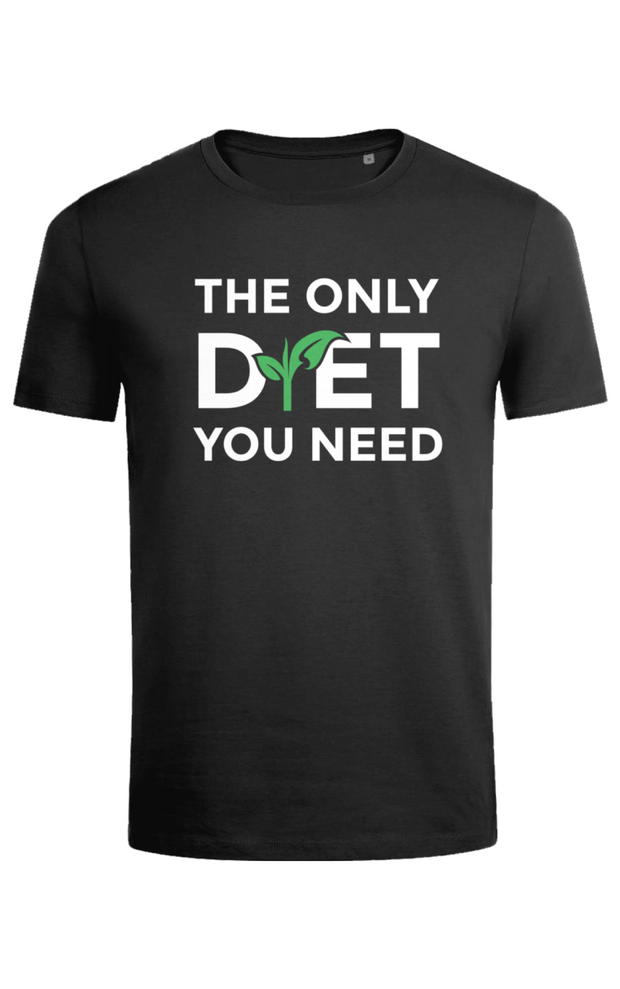 "Mens Slim Fit ""The Only Diet"" T-Shirt - Black"