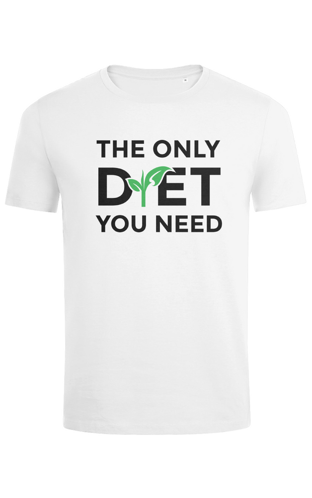 "Mens Slim Fit ""The Only Diet"" T-Shirt - White"