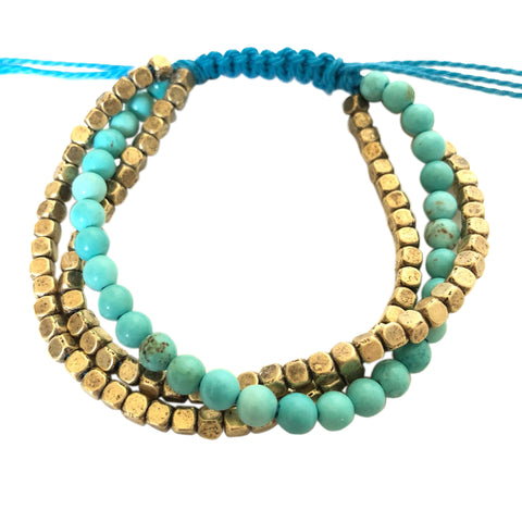 Mayan Riviera Turquoise - Brass Triple Stack